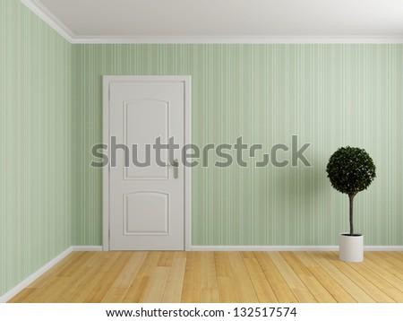 Empty interior room with door and wooden floor - stock photo