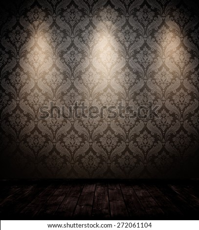 empty interior room with three spots. - stock photo