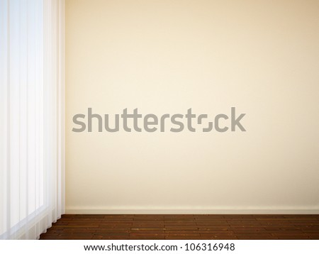 empty interior with a curtain - stock photo
