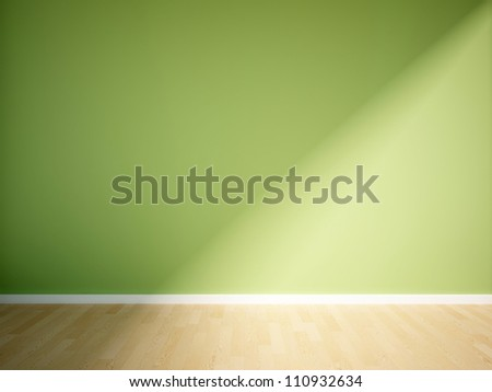 empty interior with a green wall - stock photo