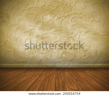 empty interior with a vintage pattern wall and wooden floor