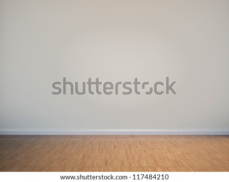 empty interior with a white wall - stock photo