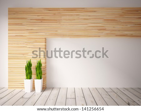 empty interior with a wooden wall - stock photo