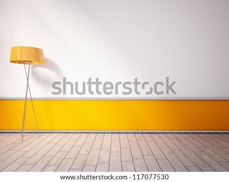 empty interior with an orange lamp - stock photo