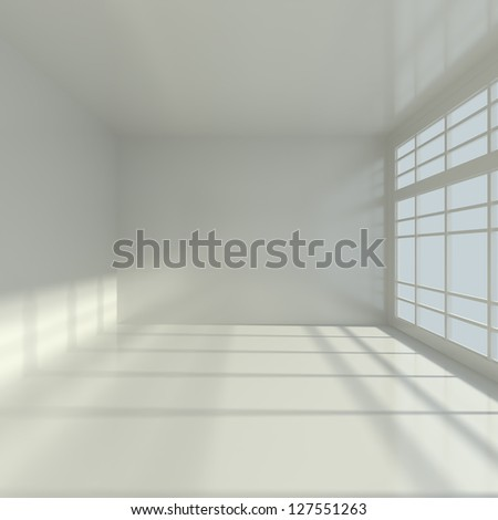 Empty Interior with Big Window - 3d illustration