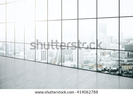 Empty interior with concrete floor and panoramic windows with city view. 3D Rendering - stock photo