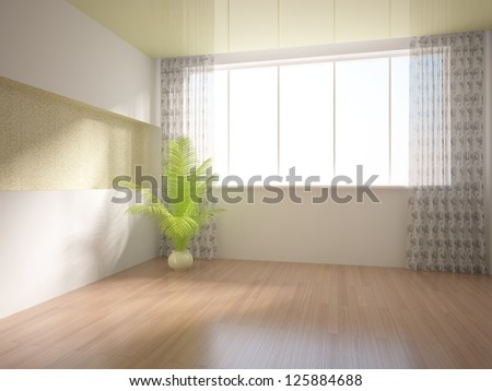 empty interior with curtains - stock photo