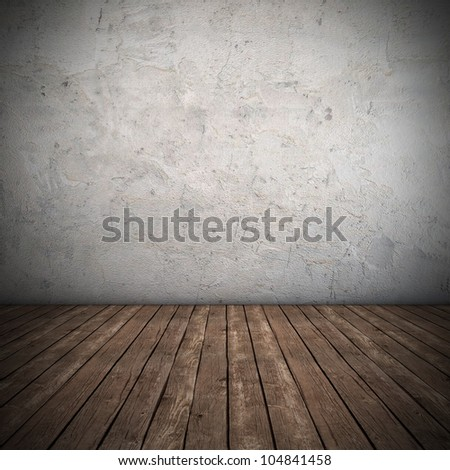 Empty interior with dirty wall - 3D render - stock photo
