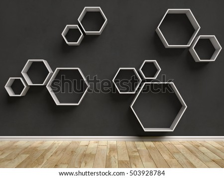 Empty interior with hexagon shelves on the wall