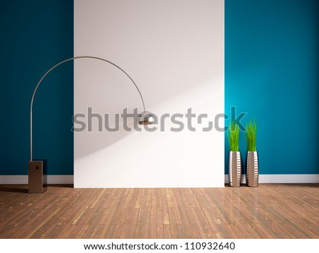 empty interior with lamp and grass in vases - stock photo