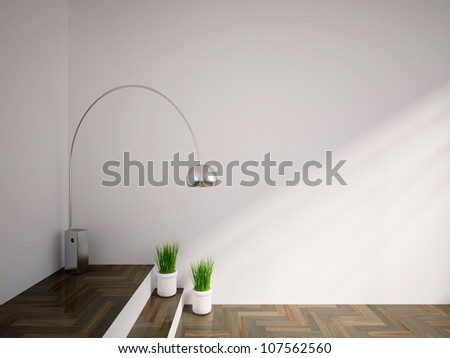 empty interior with lamp and vases with green grass - stock photo