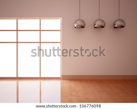 empty interior with lamps - stock photo