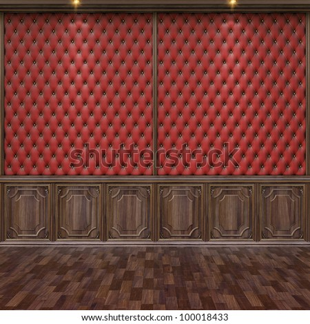 empty interior with leather and wooden wall panels.