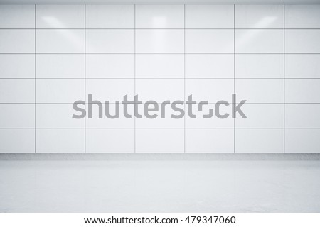 Empty interior with light tile wall and concrete floor. Mock up, 3D Rendering