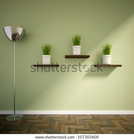 empty interior with metal lamp and vases with grass on shelves
