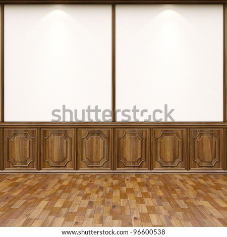 empty interior with parquet flooring and wood paneling. - stock photo