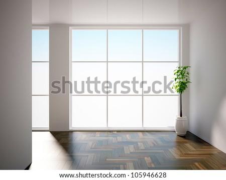 empty interior with plant - stock photo