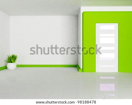 empty interior with the smooth constructions and the vases - stock photo