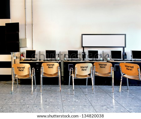 Internet cafe stock images royalty free images vectors for Internet cafe interior designs