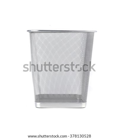 Empty iron trash bin isolated on white