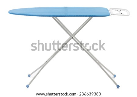 Empty ironing board isolated on white background - stock photo
