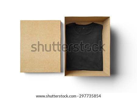 Empty isolated box and black tshirt  - stock photo