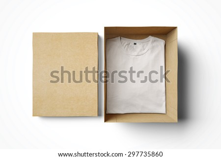 Empty isolated box and white tshirt  - stock photo