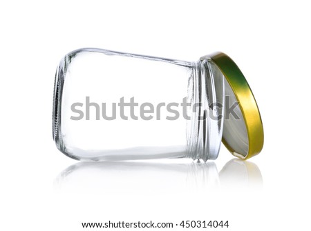 Empty jam bottle on white background