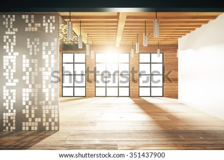Empty japanese style room with windows in floor 3D Render - stock photo