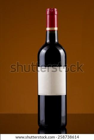 empty labe red wine bottle - stock photo