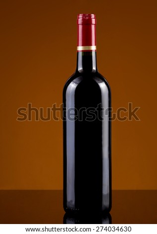 empty labe red wine bottle - stock photo