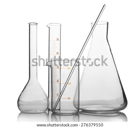 empty laboratory glassware with reflection isolated on white background - stock photo