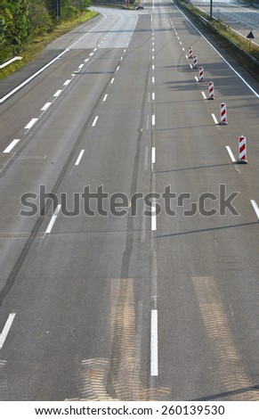 empty 4-lane  highway due to road and bridge works - stock photo