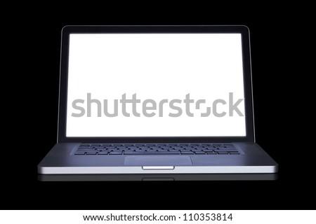empty Laptop on dark background. (with part) - stock photo