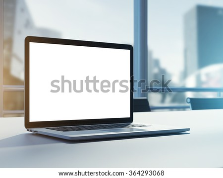 Empty laptop on table. Big window and clear minimalistic office with sunlight. 3d rendering - stock photo