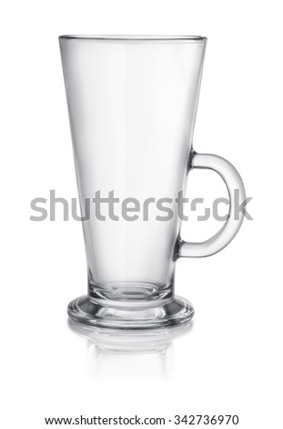 Empty latte glass isolated on white - stock photo