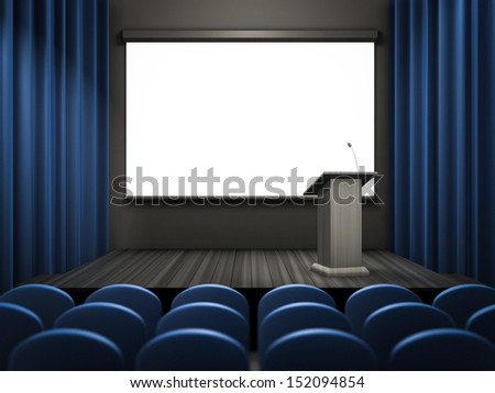 empty lecture room template - stock photo