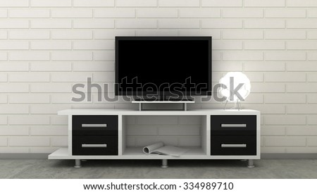 Empty LED TV on television shelf in classic interior background with white brick wall and concrete floor. Copy space image. 3d render