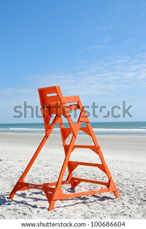 Empty Life Guard Stand on the Beach - stock photo