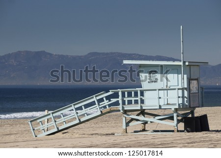Empty Life Guard Tower - stock photo
