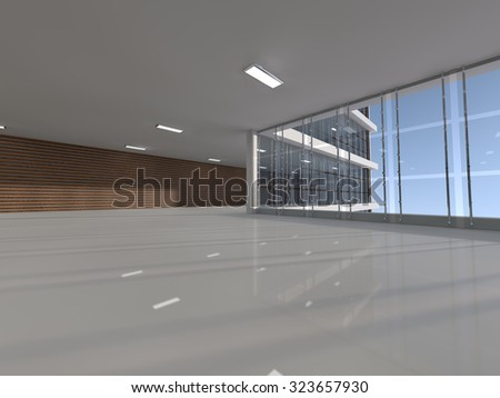 empty light big hall with glass windows 3D rendering