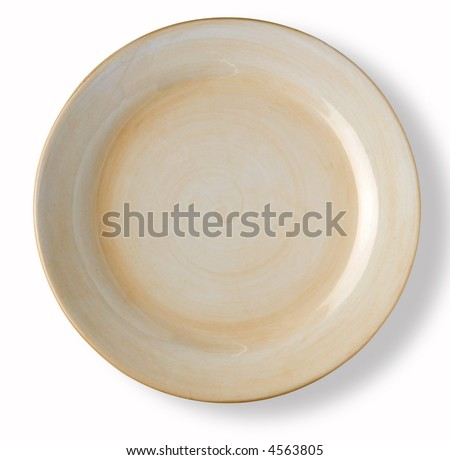 empty light brown dish over white background with shadow - stock photo