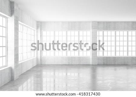 Empty light concrete interior with windows, 3D Rendering - stock photo