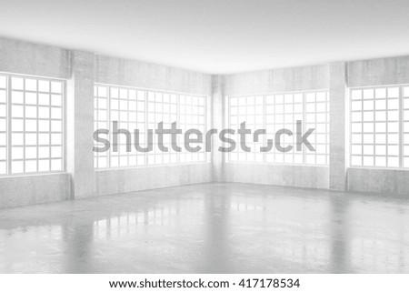 Empty light concrete room with windows, 3D Rendering - stock photo