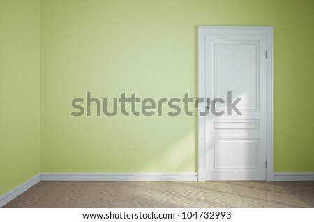 empty light green room with white door