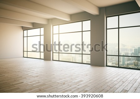 Empty light  loft interior with wooden floor, three panoramic windows and sunlight. 3D Render - stock photo