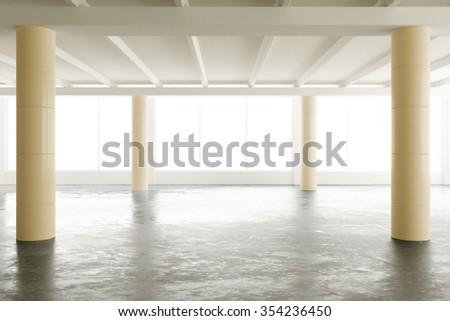 Empty light loft office with pillars and big windows 3D Render - stock photo