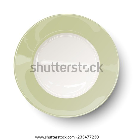 Empty light olive green plate with reflections isolated on white background. Raster version illustration. - stock photo