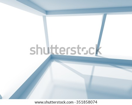 Empty Light Room With Large Windows. 3d Render Illustration