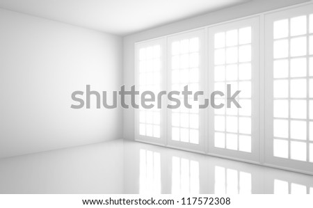 empty  light white room with window - stock photo